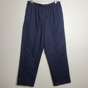 Alfred Dunner Elastic Waist Cotton Twill Navy Pant